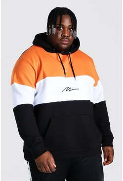 Orange Plus Size Man Script Colour Block Hoodie