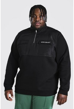 Black Plus Size Man Funnel Neck Utility Top