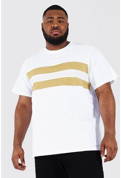 White Plus Size Colour Block T-shirt