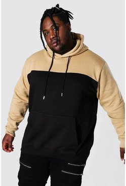 Sand Plus Size Colour Block Hoodie
