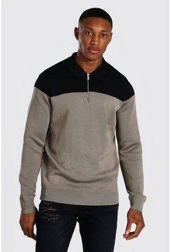 Taupe Long Sleeve Regular Fit Contrast Knitted Polo