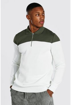 Sage Long Sleeve Regular Fit Contrast Knitted Polo