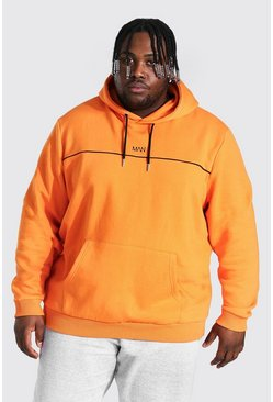 Plus Size Heavyweight Man Hoodie With Piping, Orange