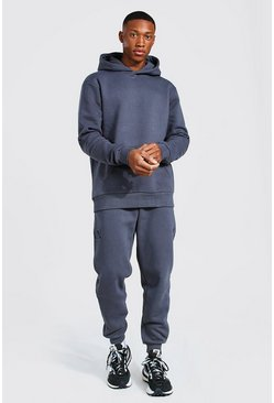 Charcoal Man Roman Sleeve Print Hooded Tracksuit