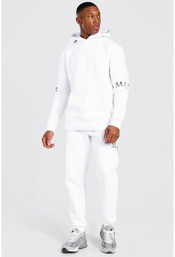 White Man Roman Sleeve Print Hooded Tracksuit