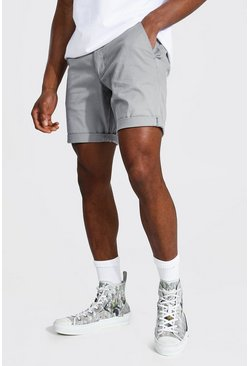 Grey Skinny Fit Chino Short