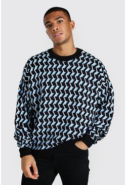 Blue Geo Print Oversized Crew Neck Knitted Jumper