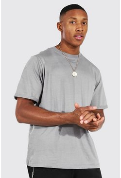 Ash grey Crew Neck T-Shirt With Rolled Sleeves