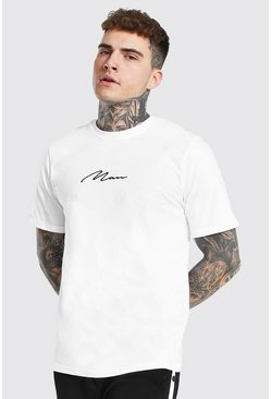 Man Signature Rolled Sleeve T-shirt, White