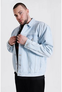 Light blue Plus Size Boxy Fit Distressed Denim Jacket