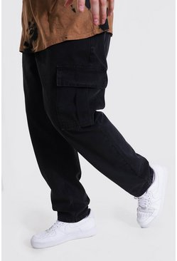 Washed black Plus Size Slim Fit Side Zip Hem Cargo Jean
