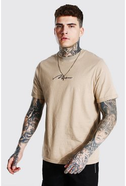 Taupe Man Signature Rolled Sleeve T-shirt