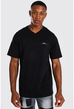 Black Man Signature V-neck T-shirt