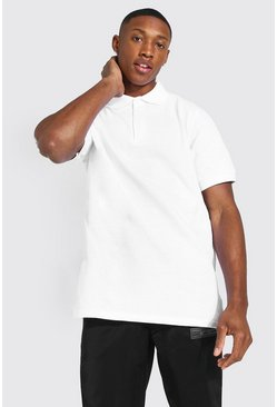 White Basic Pique Polo