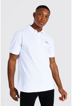 White Man Signature Pique Polo