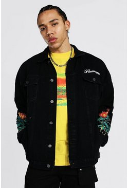 Black Tall Oversized Palm Tree Denim Jacket