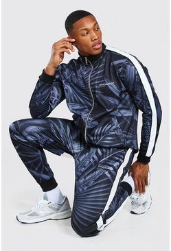 Black Official Man Palm Print Tricot Tracksuit
