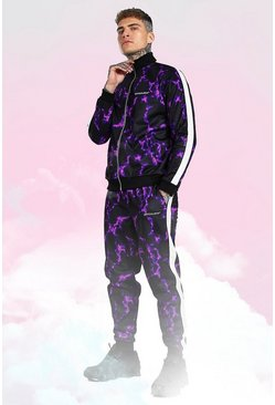 Purple Official Man Lightning Print Tricot Tracksuit