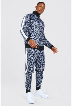 Brown Official Man Leopard Print Tricot Tracksuit