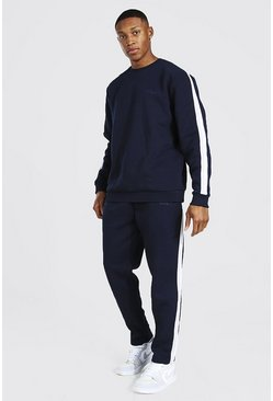 Navy Official Man Knitted Panel Sweater Tracksuit