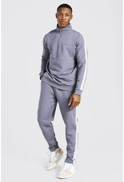 Charcoal Official Man Knitted Panel Funnel Tracksuit