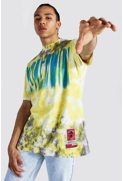 Yellow Tall Oversized Tie Dye Worldwide T-shirt