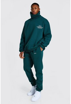 Teal Oversized Man Snood Sweater Tracksuit