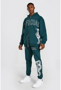 Sweat à capuche oversize zippé et pantalon de survêtement serpent Official, Teal