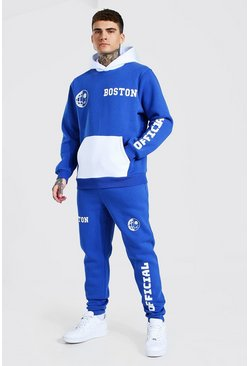 Cobalt Official Print Colour Block Hooded Tracksuit