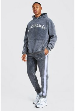 Charcoal Oversized Man Acid Wash Hooded Tracksuit