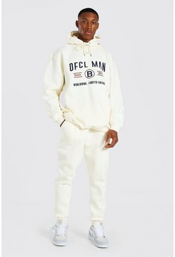 Ecru Oversized Man Embroidered Hooded Tracksuit