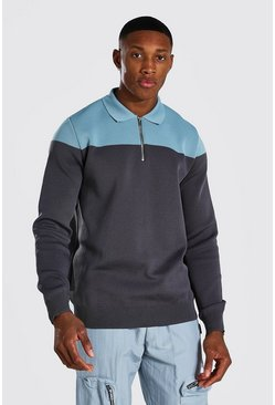 Blue  Long Sleeve Regular Fit Contrast Knitted Polo