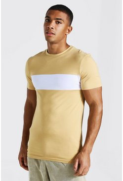 Sand Longline Muscle Fit Colour Block T-shirt