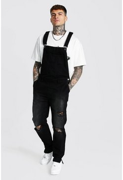 Washed black Tapered Stacked Knee Rip Long Dungaree