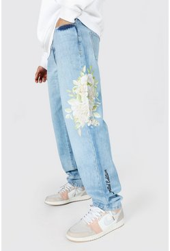 Ice blue Relaxed Fit Floral Print Jean
