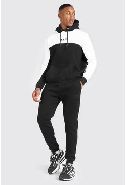 Man Colour Block Hooded Tracksuit With Tape, Black