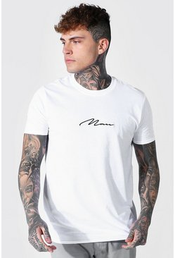 White MAN Signature Embroidered T-Shirt