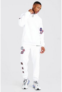 White Man Detachable Badge Hooded Tracksuit