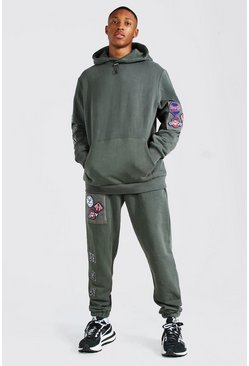 Khaki Man Detachable Badge Hooded Tracksuit