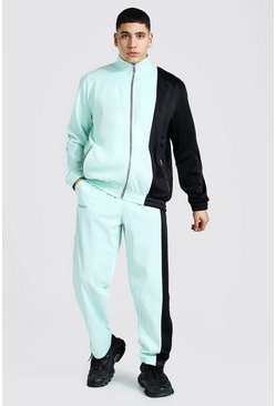 Mint Loose Fit Man Tricot Tracksuit With Poppers