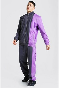 Purple Loose Fit Man Tricot Tracksuit With Poppers