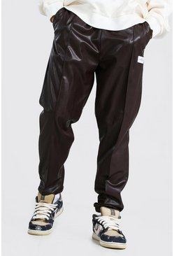 Brown Man Pu Pintuck Joggers