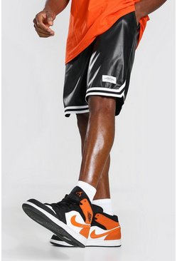 Black Man Pu Basketball Shorts
