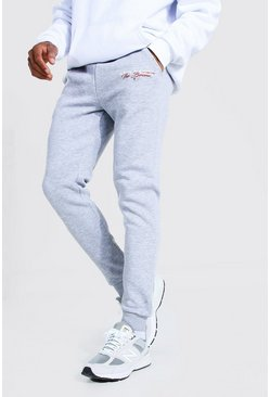 Grey marl New York Print Skinny Joggers
