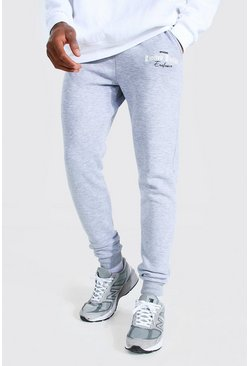 Grey marl Limited Edition Printed Skinny Joggers