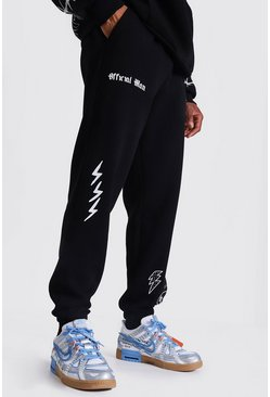 Black Official Man Graffiti Print Regular Joggers