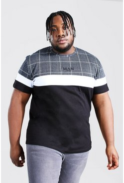Black Plus Size Man Roman Jacquard Panel T-shirt
