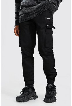Black Man Twill Cargo Rubber Ankle Detail Pants