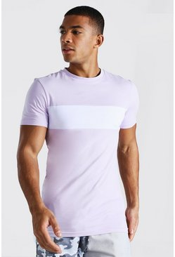 Lilac Longline Muscle Fit Colour Block T-shirt