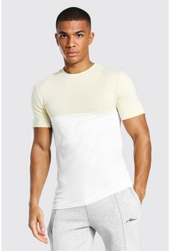Sand Muscle Fit Colour Block T-shirt